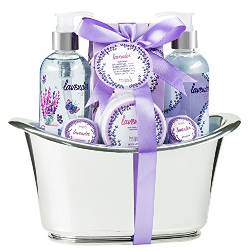 Bath and Body Skincare Luxury Spa Gift Set for Women in Lavender Aromatherapy Fragrance, Includes Bath Bombs, Shower Gel, Bubble Bath, Body Lotion, and Bath Salts in a Bath Tub Basket
