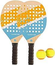 KIT RAQUETES BEACH TENNIS - 2 RAQUETES + 2 BOLAS