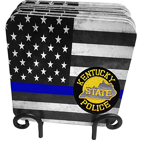 (50 States Highway Patrol, State Patrol, State Police 9 Pc Hardboard Coasters with Metal Stand (Kentucky))