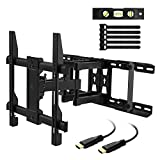 "PERLESMITH TV Wall Mount Swivels, Tilts, Extends - Full Motion TV Mount with Articulating 16'' Arm Fits 16"", 18"", 24"" Wood Studs - VESA 400x400mm for 37-55 Inch LED LCD Flat Screen Plasma TVs"