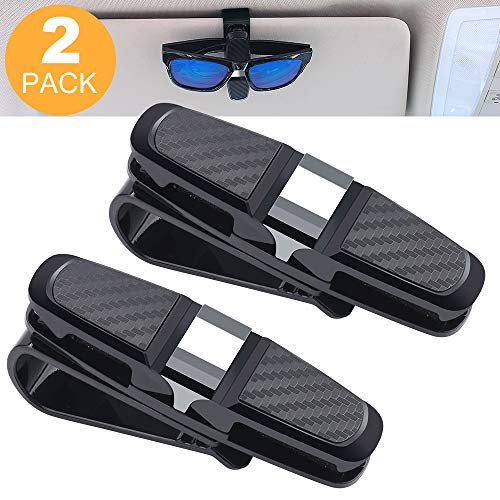 ASANMU Glasses Holder for Car Sun Visor, Double-Ends Clip -180 Rotational Car Glasses Holder with Ticket Card Clip, Sunglasses Eyeglasses Mount for Car (2 Pack Black)