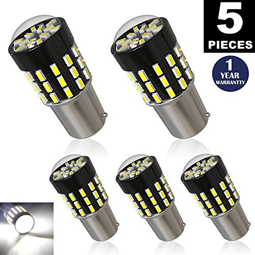 LUYED 5 x 650Lumens Super Bright 1156 3014 54-EX Chipsets 1156 1141 1003 7506 LED Bulbs Used For Back Up Reverse Lights,Brake Lights,Tail Lights,Rv lights,Xenon White