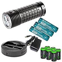 Bundle: Olight SR Mini Intimidator 2800 Lumen Cree XM-L2 LED diffused SRMini Flashlight Flat & Pronged Bezel, Holster with six LegionArms CR123A lithium batteries