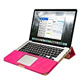 """Jisoncase JS-PRO-05R33 PU Leather Shell Folio Flip Stand Book Sleeve for Apple MacBook Pro 13.3"""" - Rose"""