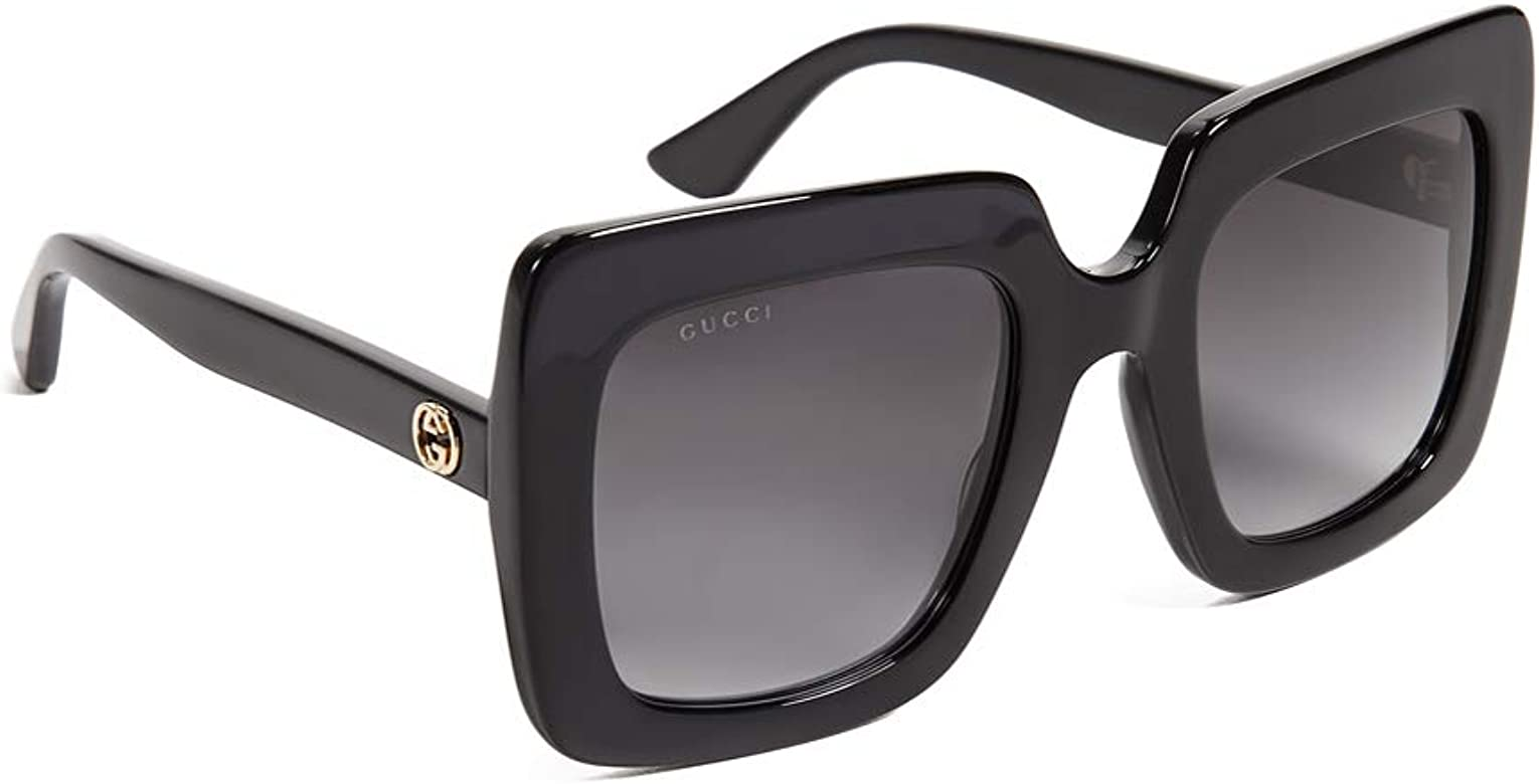 Gucci Gafas de Sol GG0328S BLACK/GREY SHADED mujer: Amazon ...