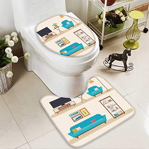 Bathroom Non-Slip Floor Mat living room with furniture cozy interior with sofa and tv flat with High Absorbency (Living With Set Jordan's Room Tv Furniture)
