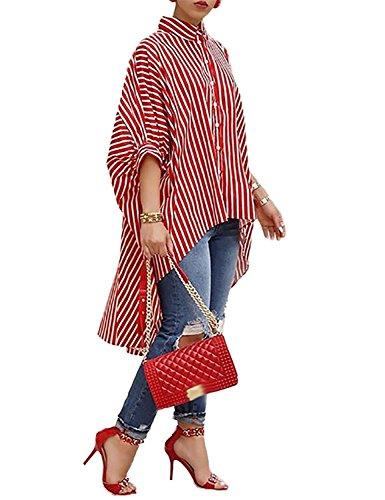 Yanekop Womens Striped Print Batwing Half Sleeve Dip Hem Loose Blouse Long Tops