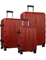 Timberland Boncliff Three Piece Hardside Spinner Luggage Set (29/25/21), Red