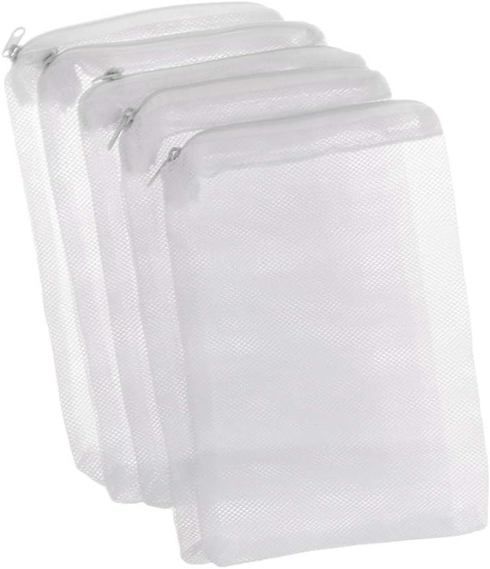 Bolsa de Malla de Tanque de Peces Cremallera Estanque Neto para Bola Bio Almacenamiento de Aislamiento de Carbono Activo 10x15 cm Xuniu 5 Unidades Bolsa de Filtro de Acuario