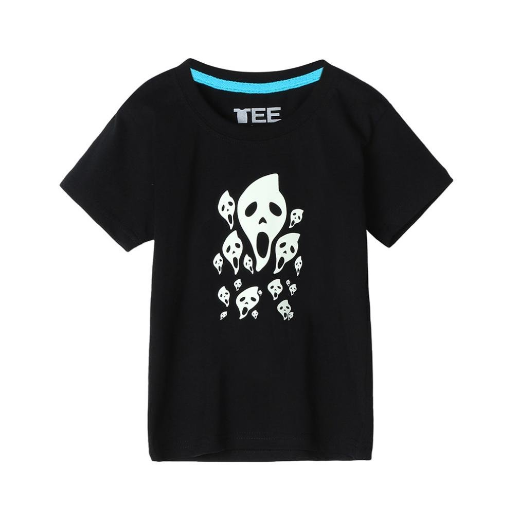 Sixcup Summer Family Kids Boys Skull Heads Short Sleeve Tops Fluorescence T Shirt Tee Clothes Hallow 1-10 Age