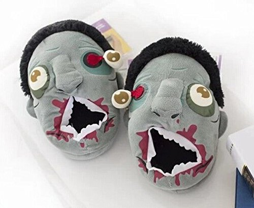 Slipper Unisex Halloween Zombie Head Warm Couple Plush Cotton House Slippers (US (Halloween Quotes For Couples)
