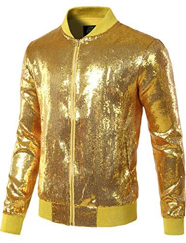 JOGAL Mens Sequins Nightclub Styles Zip up Varsity Baseball Bomber Jacket Medium A346 Gold ()