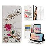 STENES Bling Wallet Phone Case Compatible with LG Escape Plus/LG K30 2019 - Stylish - 3D Handmade Rose Flowers Floral Design Leather Cover with Screen Protector [2 Pack] - Red
