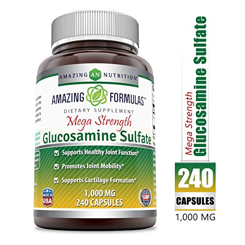 (Amazing Formulas Glucosamine Sulfate (Mega Strength) Supplement - 1000 Mg, 240 Capsules (Non-GMO) - Supports Healthy Joint Function - Promotes Joint Mobility - Supports Cartilage)