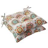 Cheap Pillow Perfect Indoor/Outdoor Fairington Tufted Seat Cushion, Aqua, Set of 2