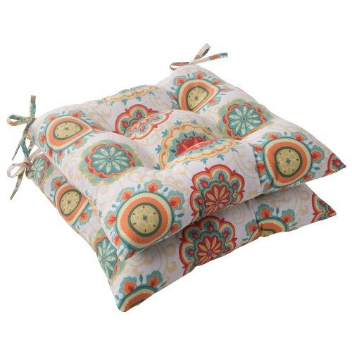 Pillow Perfect Indoor/Outdoor Fairington Tufted Seat Cushion, Aqua, Set of 2