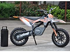The MotoTec 24v Electric Dirt Bike is the ultimate kids ride! Great for driveway and backyard fun, cruise over bumps and speed through dirt trails with ease. Comes standard with front & rear suspension, front & rear brakes, parent sel...