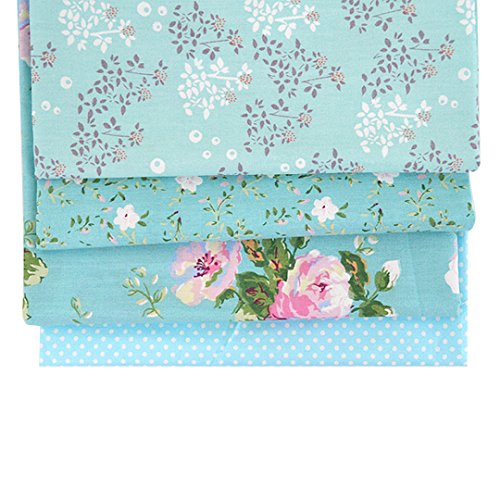 Aisa 50x50cm Blue Series Fabric Bundles Flower Printed Cotton Fabric Comfortable Patchwork Fabric Home Textile Material Cloth for Sewing