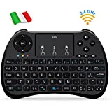 Rii H9S Wireless (layout ITALIANO) - Mini tastiera ergonomica con mouse touchpad per Smart TV, Mini PC, TV Box, Console, Computer - VERSIONE ITALIANA