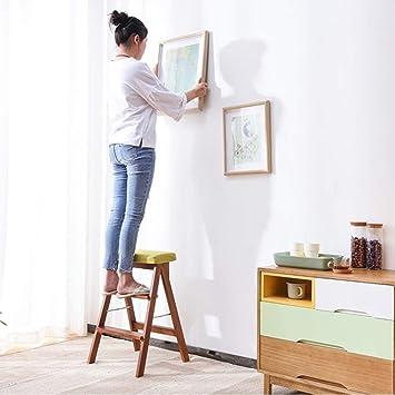 GBX Taburete, Taburete de utilidad familiar Taburete de cocina Escalera de madera Escalera plegable para el hogar Escalera plegable de uso múltiple Escalera de escaleras: Amazon.es: Bricolaje y herramientas