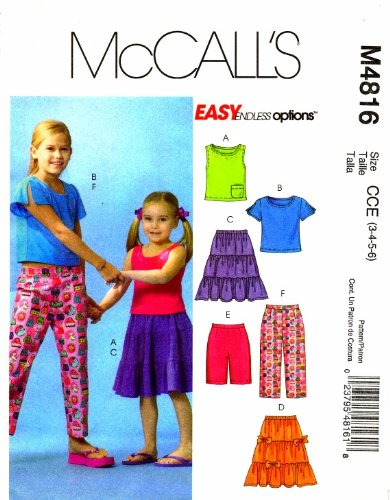 McCall's 4816 Girls Tops Skirt Shorts Capri Pants Sewing Pattern Size 3 - 6