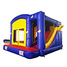 ALEKO BHC007 Commercial Grade Bounce House with Basketball Hoop Slide Climbing Wall and Blower Blue and Yellow Banana Design 5 x 5 x 4 Meters