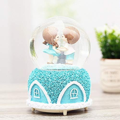 (SeedWorld Music Boxes - Creative Lantern Rotating Snowflake Rose House Couple Glass Crystal Ball Music Box Ornaments Water Polo Music Box Birthday Gifts 1 PCs)