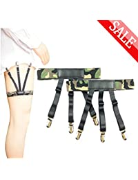 Shirt Stay,Jelinda Mens Garter Elastic Shirt Suspender Non-slip Locking Clamps (Camouflage Style A)