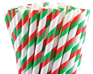"25 Paper Drinking Straws Christmas Red Green Stripes 7.75"" Retro Vintage Style Durable"