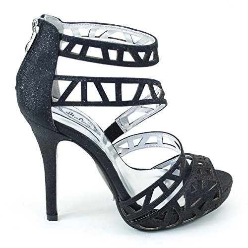 New Brieten Womens Cut-out Strappy Peep Toe Ankle Strap Back Zipper High Heel Dress Party Sandals Black dPyCC6