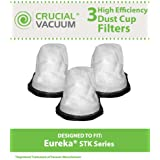 3 STK Style Dust Cup Filters for Eureka STK Quick Series 96B, 162A, 164B, 169A Vacuums; Compare to Eureka Part Nos. 61544, 61544A; Designed & Engineered by Think Crucial
