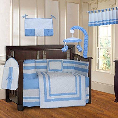 BabyFad Modern Quilted Blue 10 Piece Baby Crib Bedding Set [並行輸入品]   B07J6P55W2