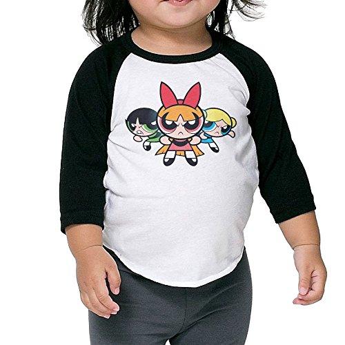 Kid's Powerpuff Girls Toddler Child 3/4 Sleeve Raglan T-Shirt 100% Cotton 2 Toddler