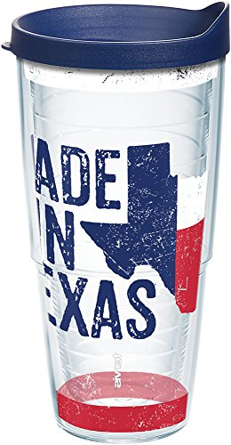 (Tervis 1213269 Texas - Made In Texas Tumbler with Wrap and Navy Lid 24oz, Clear)