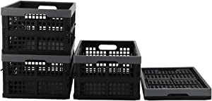 Rinboat Collapsible Storage Baskets Plastic Crate Box Office Organizer, Black And Deep Grey, 4 Packs