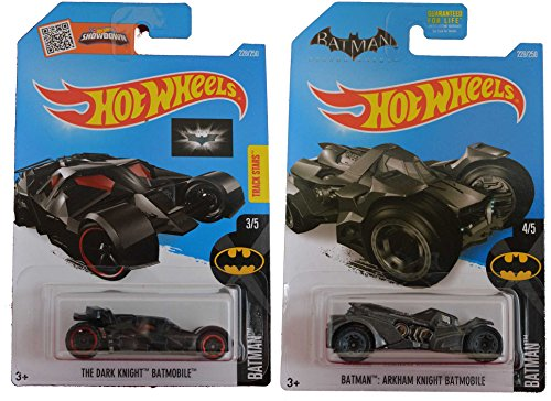 Hot Wheels 2016 Batman The Dark Knight Batmobile & Batman Arkham Knight Batmobile 2-Car Bundle Set (Homer Simpson Muscle)