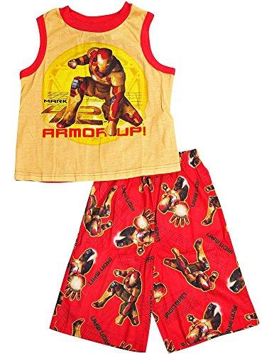 Iron Man - Little Boys Sleeveless Shorty Pajama Set, Yellow, Red 34097-6/7-FBA Red Shorty Pajamas