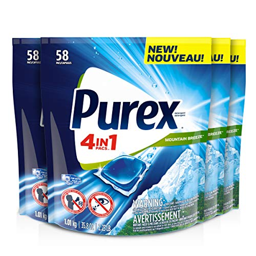 Purex 4-in-1 Laundry Detergent Pacs, Mountain Breeze, 58Count, Pack of 4, 232 Total ()