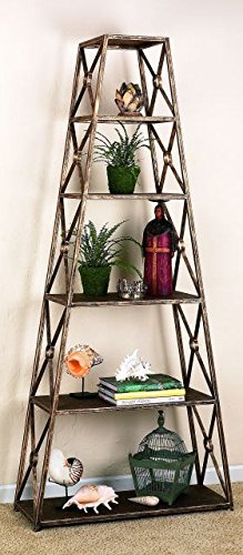 - Iron 82'' Tall Display Etagere | Six Shelf Metal Freestanding Gold Book