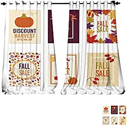 "Blackout Grommet Curtains Thanksgiving autumn fall sale banner Flyer card poster holiday birthday invitation card template wit 3 Layers High Density - Noise Reduction Fabric-W84"" x L108""/Pair"