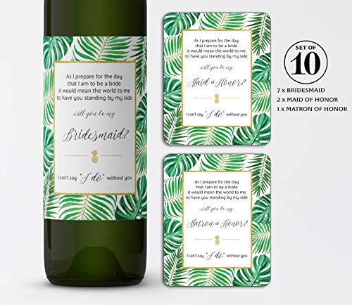 TROPICAL Bridesmaid Proposal ● SET of 10 ● Tropical Will You Be My Bridesmaid Wine Labels, Destination Wedding Decor, Beach Wedding Party Ask, Palm Leaves Bridal Party Ask, WEATHERPROOF, R200-ASK-10 ()