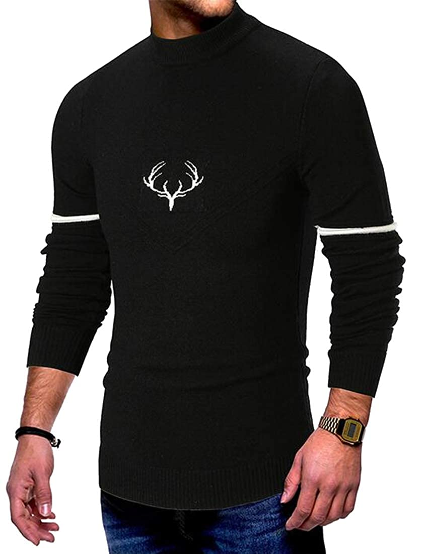 Jotebriyo Mens Slim Long Sleeve Fall /& Winter Turtle Neck Knitted Pullover Sweater Jumper