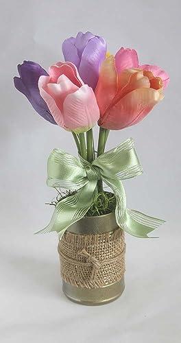 spring flower arrangement burlap tulips floral arrangement gift for her easter