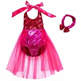 Tsyllyp Baby Girls One Piece Sequins Swimsuit Mermaid Bikini Dress+Headband