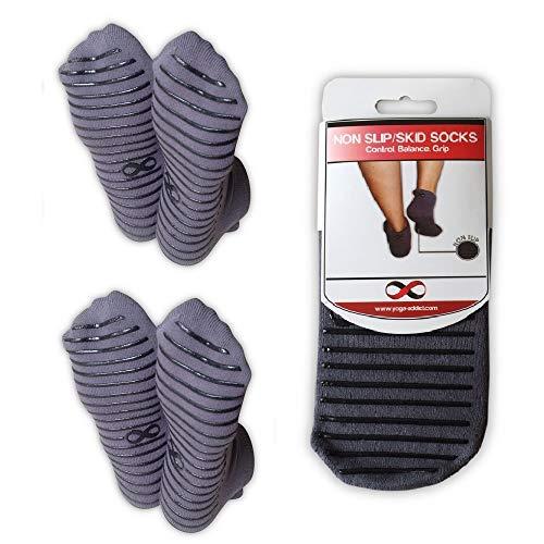 Non Slip Skid Socks Grips Hospital Rehab, Yoga, Pilates, Barre, Traveling, Home Use, Grey (Black Grippy Lines) - Size L/XL, 2 Pairs