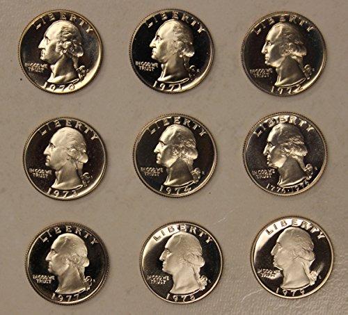 1970-1979 Washington Silver Proof Quarter Run - 9 Coin ()