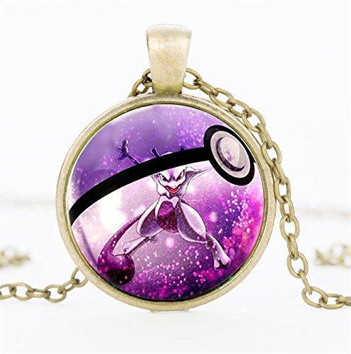 [JewelryX - Bronze Plated Pokemon Go Ball Pokeball Cabochon Glass Charm Pendant Chain Necklace Fashion Women Men] (Pokemon X And Y Ash Costume)