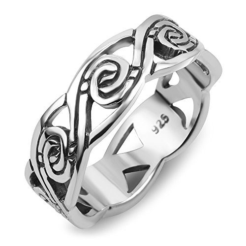 Chuvora 925 Sterling Silver Tribal Swirl Surf Wave Design Band Ring Size 8 (Design Band Wave)