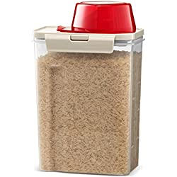 Komax Biokips Fresh Grain Dry Food Plastic Storage Container (2.8L. 94 oz.) With Locking Lid & Measuring Scoop (1 cup) For Rice, Flour & Pet Food - BPA FREE