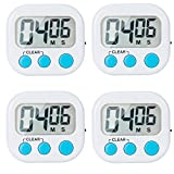 60 second countdown timer - 4 Pack Digital Kitchen Timer - Magnetic Back And ON/OFF Switch,Minute Second Count Up Countdown